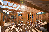 Wood framing of a house under construction