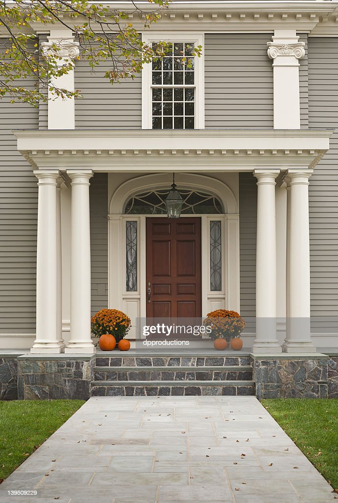 Wood Front Door And Entrance With Columns : Stock Photo