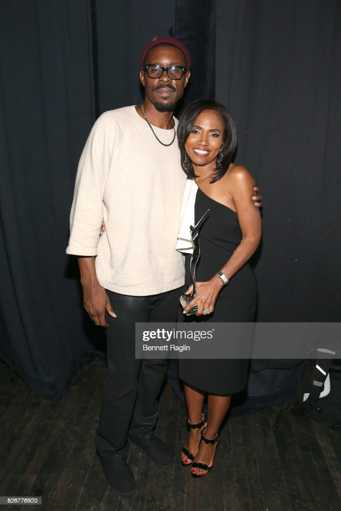 Wood Harris and honoree Suzanne Schank are seen backstage during Black Girls Rock! 2017 at NJPAC on August 5, 2017 in Newark, New Jersey.