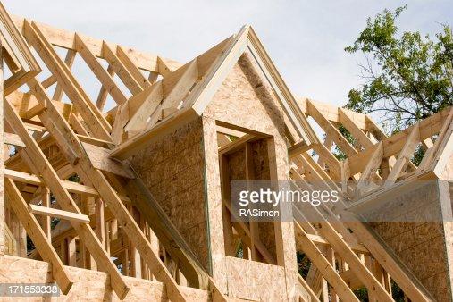 wood house framing dormer window landscape view stock photo