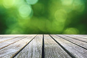 Wood Picnic Table Texture Over Green Spring Nature Blurred Background