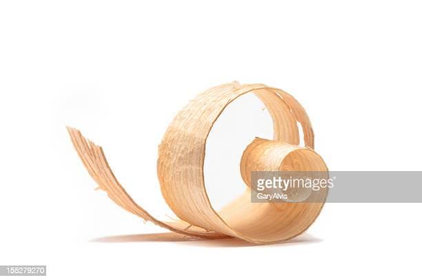 Pelado de madera/curl primer plano#13-Aislado en blanco