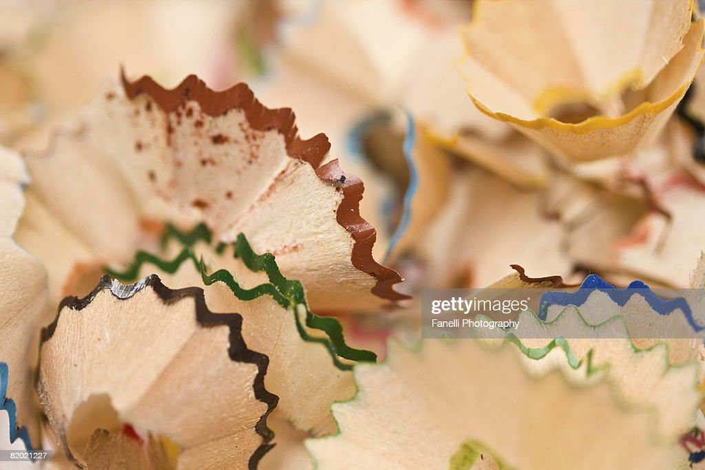 Wood shavings leftover after a long homework session. : Stock Photo
