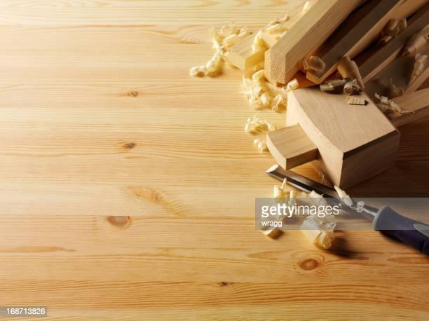 Copeaux de bois avec bois