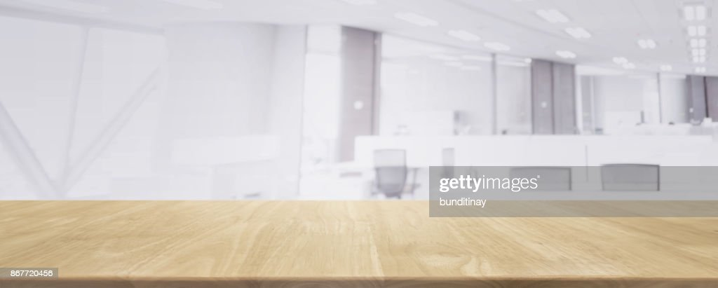Wood Table Top And Blurred Bokeh Office Interior Space Background   Can  Used For Display Or