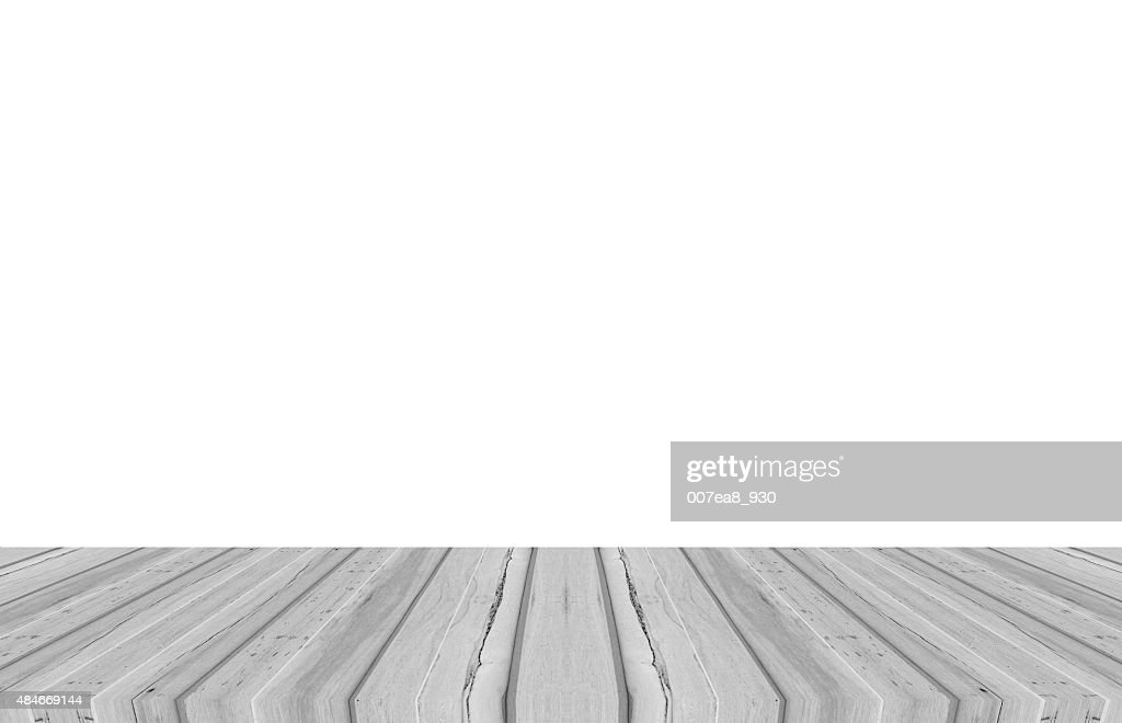 Wood Table Top On White Background : Stock Photo