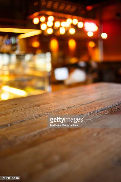 Wood Table with Bokeh Background