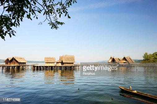 Wood Town at Lake Constance Unteruhldingen Coast View Summer