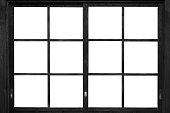 Black wood window frame isolated on white background