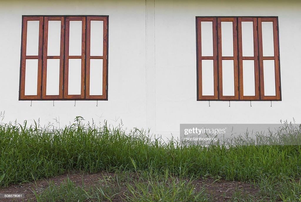 wood window wall : Stock Photo