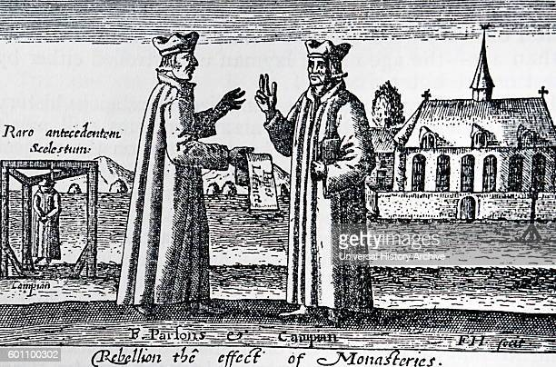 Woodblock print titled 'A Thankfull Rememberance' depicting the effects of rebellions on Monasteries Dated 17th Century