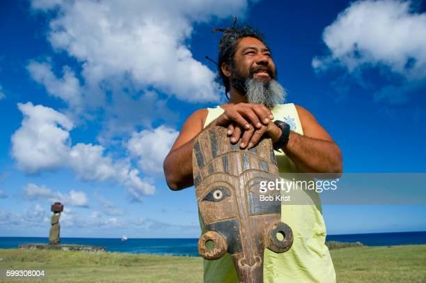 Woodcarver on Easter Island