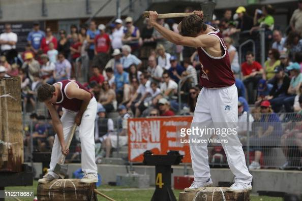 Woodchopping action during a heat session in the Woodchop stadium at the Royal Easter Show at Sydney Olympic Park on April 15 2011 in Sydney...