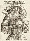 Woodcut from a pamphlet critically depicts German religious reformer Martin Luther as a seven headed creature early to mid 16th century