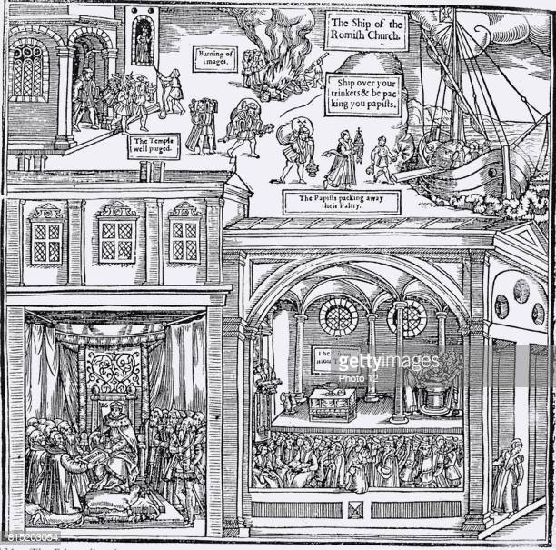 Woodcut from the first edition of John Foxe 'The Book of Martyrs' London 1563 depicting iconoclasm centre top In the top part of the image 'papists'...