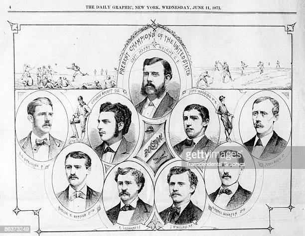 BOSTON JUNE 11 1873 Woodcut from the New York Daily Graphic from 1873 featuring the world champion Boston Red Stockings with Hall of Fame players...