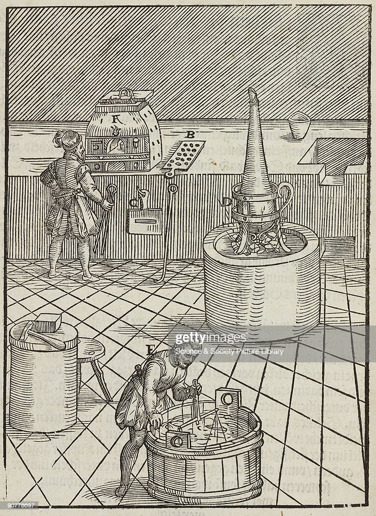 Woodcut illustration from 'Beschreibung aller furnemisten mineralischen Ertzt vnnd Bergtwercks arten' by Lazarus Ercker published in FrankfurtamMain...