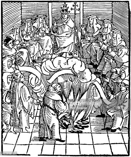 Woodcut of Pope LEO X supervising the burning of Martin Luther's books after the first Diet of Worms1521