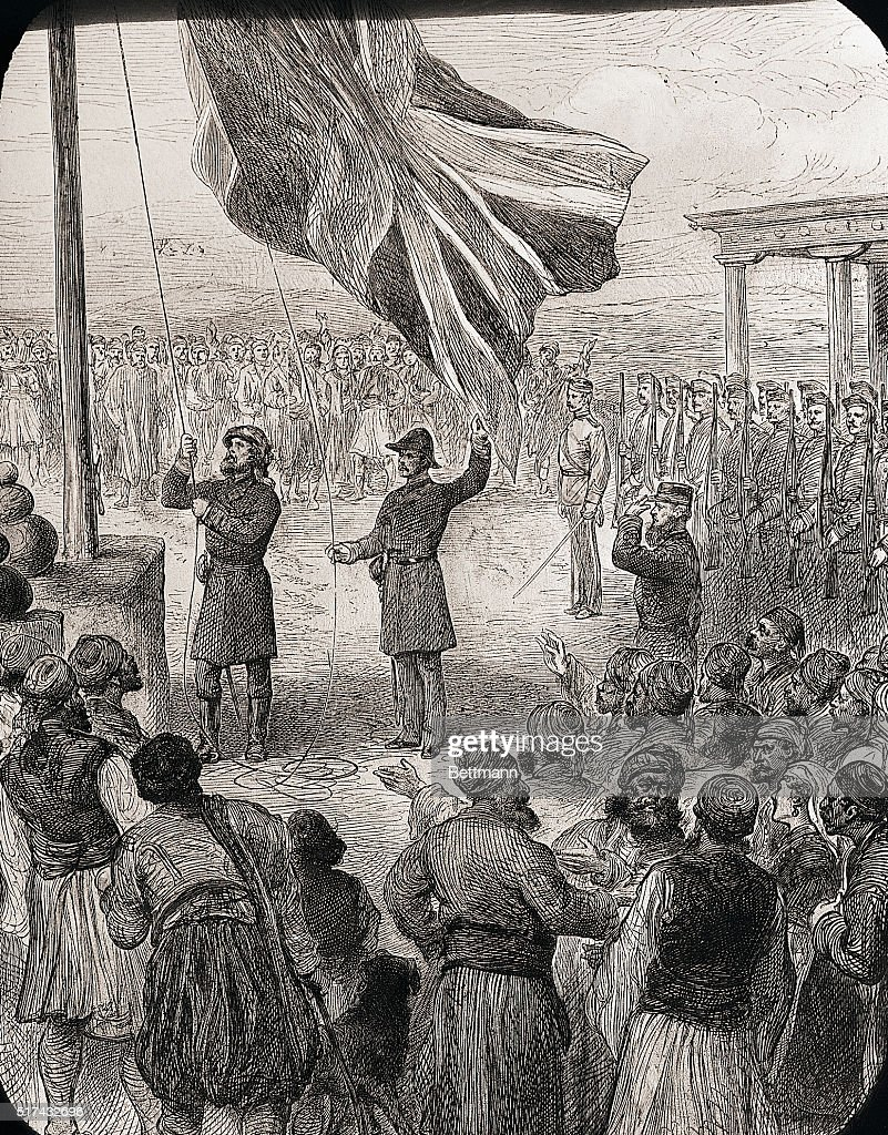 illustration english raising flag pictures getty images