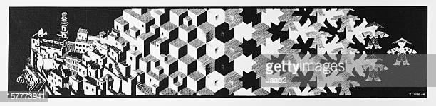 """Grabado en madera impresión """"Metamorfosis"""" 1"""" por holandés artista MC Escher (1937"""