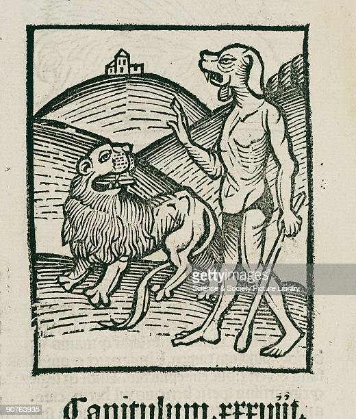Woodcut showing a mythological creature with the head of a blood hound and the body of a man Illustration from �Hortus Sanitatis� printed by Johann...