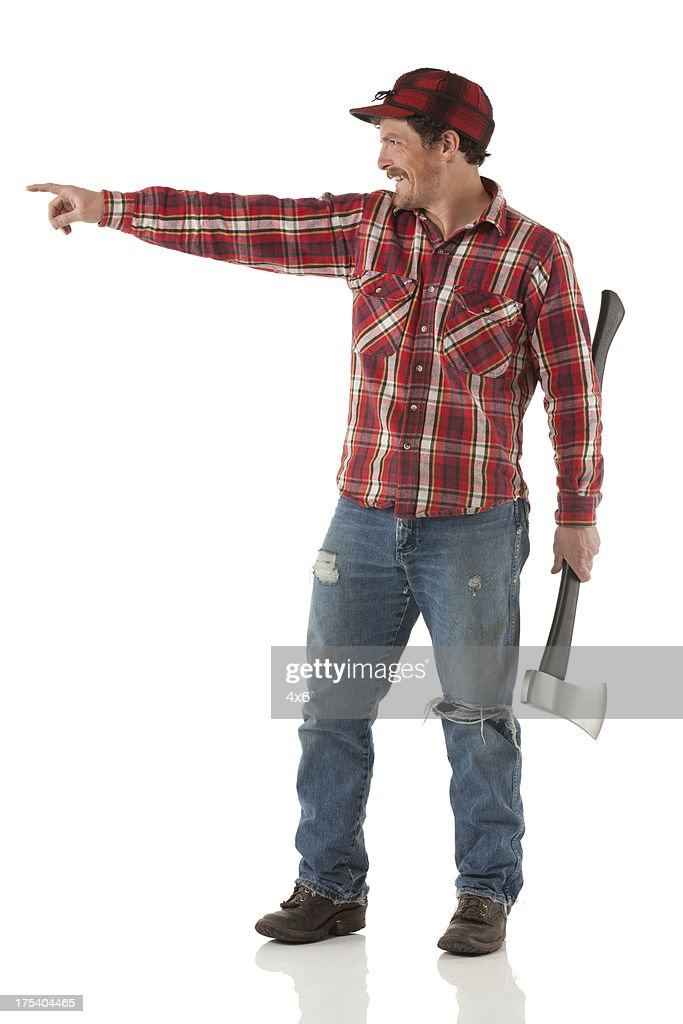 Woodcutter holding an axe and pointing