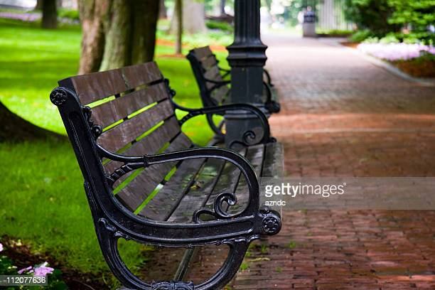 Wooden and wrought iron park bench