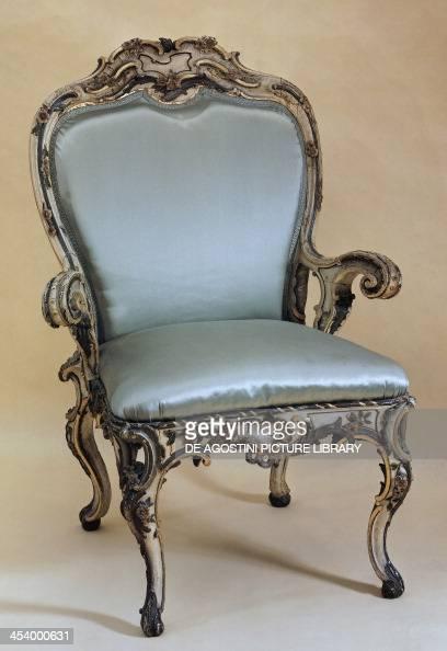 Wooden armchair painted in Johann August Nahl style ca 1746 Germany 18th century Frankfurt Museum Für Kunsthandwerk