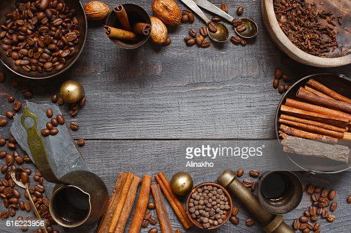 Wooden background with turkish coffee : Stock Photo