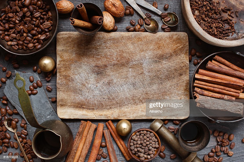 Wooden background with turkish coffee : Stock-Foto