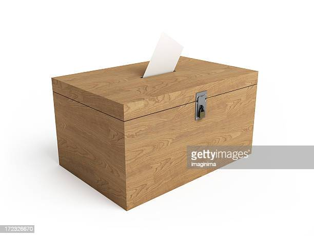 Wooden Ballot Box with Clipping Path