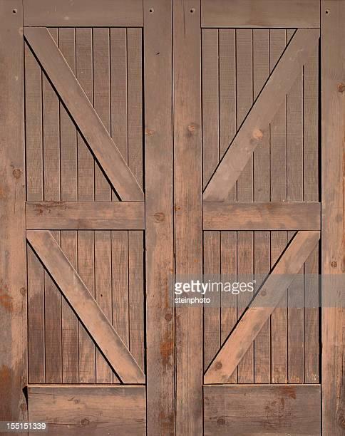 Wooden Barn Doors Isolated