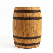 Wooden Barrel solated on white background.