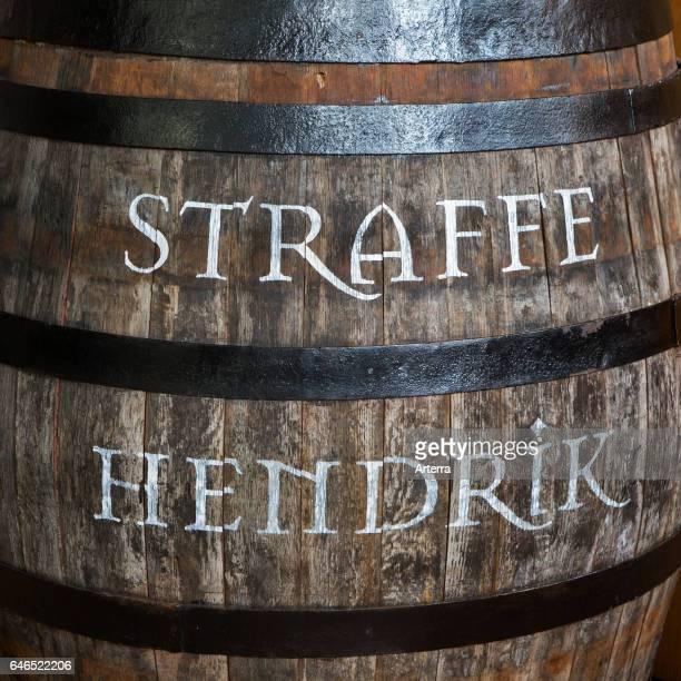 Wooden barrel with Straffe Hendrik beer at Brouwerij Henri Maes Belgian brewery at Bruges Belgium