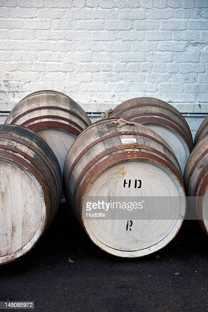 Wooden barrels at a whiskey distillery