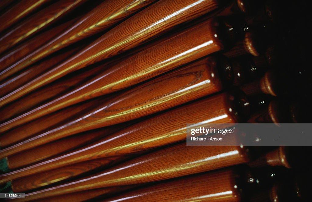 Wooden baseball bats   at factory in Louisville Slugger Museum.