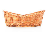 Wooden basket on white background