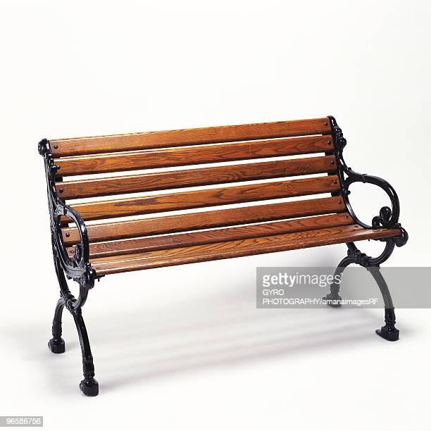 Wooden bench, white background