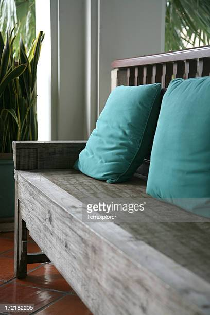 Wooden Bench With Seat Cushion