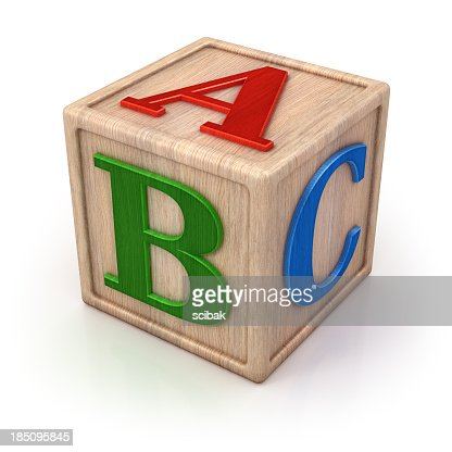 ABC wooden block isolated with clipping path