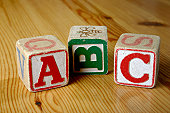 Children's wooden letter blocks