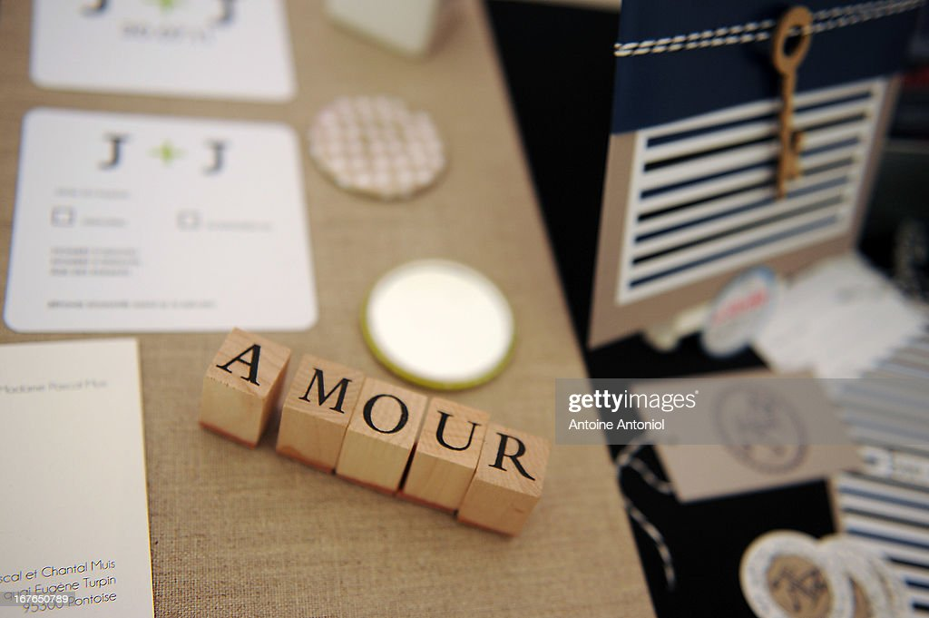 Wooden blocks speel out Amour at the gay marriage show on April 27, 2013 in Paris, France. The show takes place four days after France legalised same-sex marriage at the National Assembly.