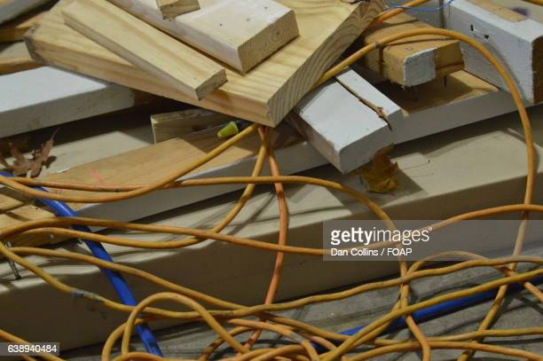 Wooden blocks with cord