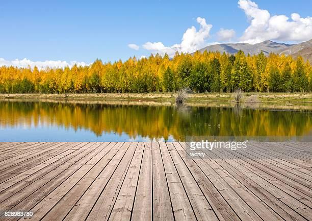 Wooden board towards landscape