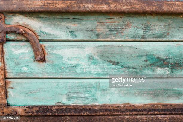 Wooden Boards framed with rusty metal