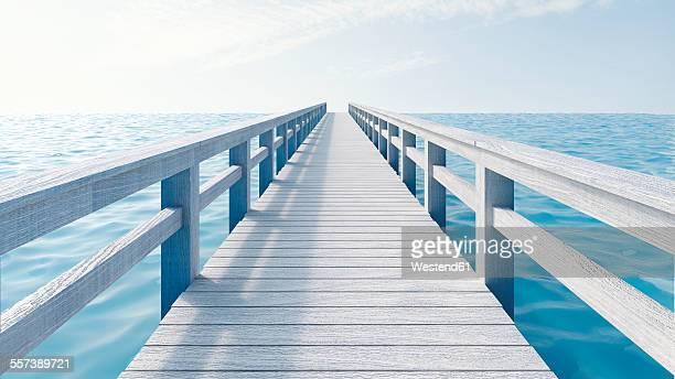 Wooden boardwalk, 3D Rendering