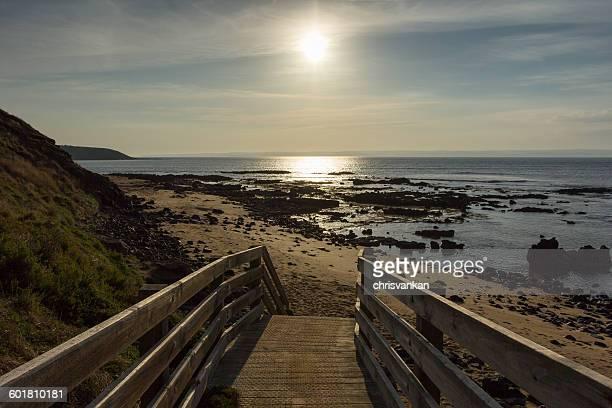 Wooden boardwalk to the beach, Summerlands, Victoria, Australia