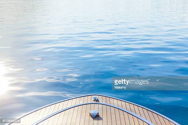 Wooden Boat Deck. Modern and Luxury Power Or Motor Boat