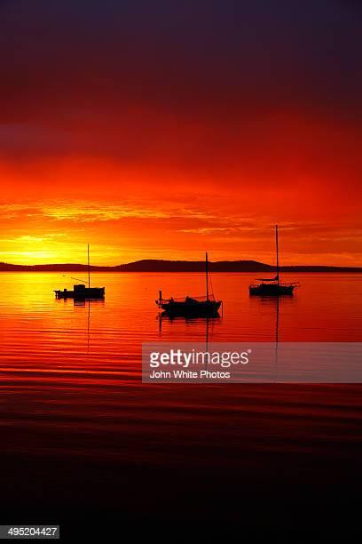 Wooden boats and calm sea at dawn. Australia.