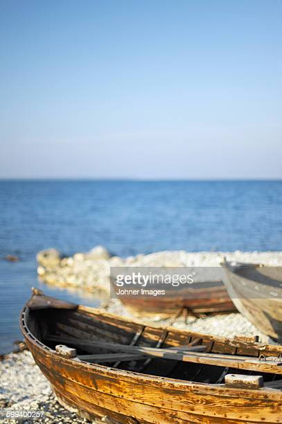Wooden boats on coast
